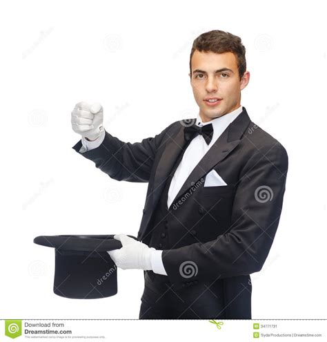 Magician In Top Hat Showing Trick Stock Image - Image of