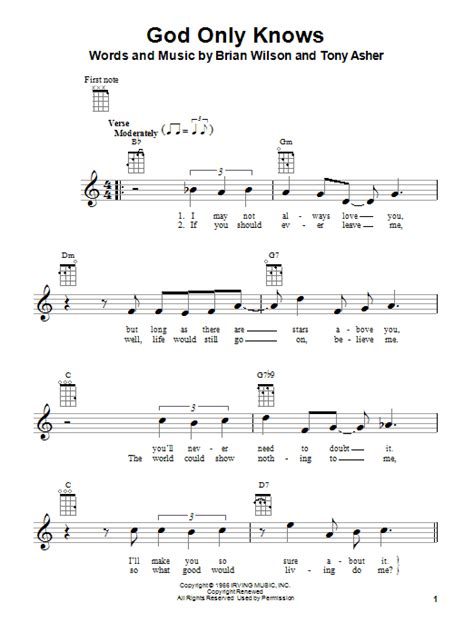 God Only Knows sheet music by The Beach Boys (Ukulele – 80995)