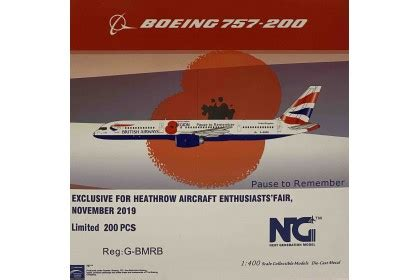 """British Airways """"Pause to Remember"""" Poppy Colours RB211"""