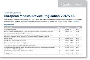 EU MDR Table of Contents + Full Text of Regulation 2017/745