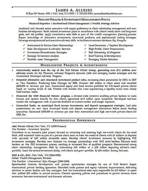 Investment Manager Resume Example