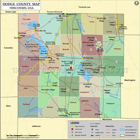 Dodge County Map, Wisconsin