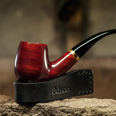 Classic Bent Smoking Pipe Tobacco Pipe 9mm Filter Wooden