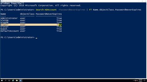 Using PowerShell - Get all users are Password Never