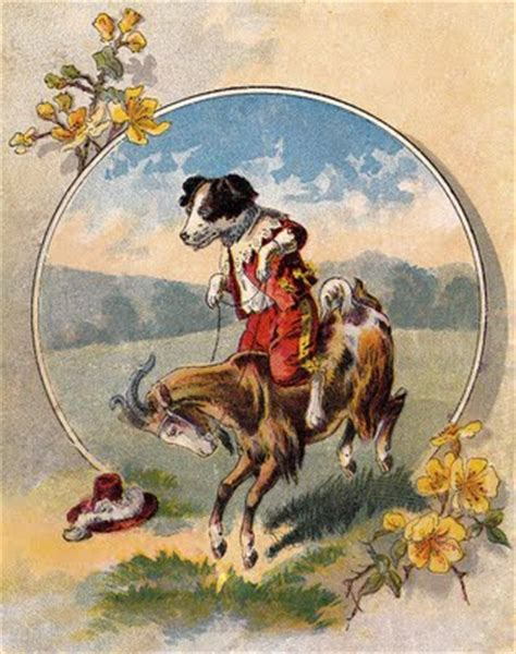 Vintage Image - Cute Dog rides Goat - The Graphics Fairy