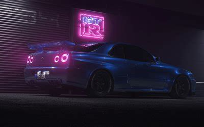 Download wallpapers 4k, Nissan GT-R, night, R34, supercars