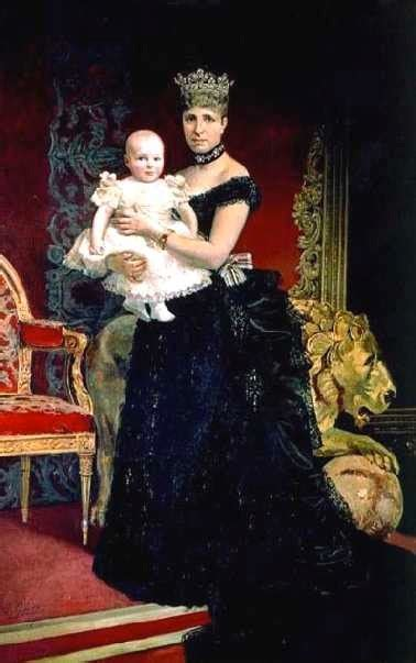 1886 or 1887 María Cristina and baby Alfonso XIII by