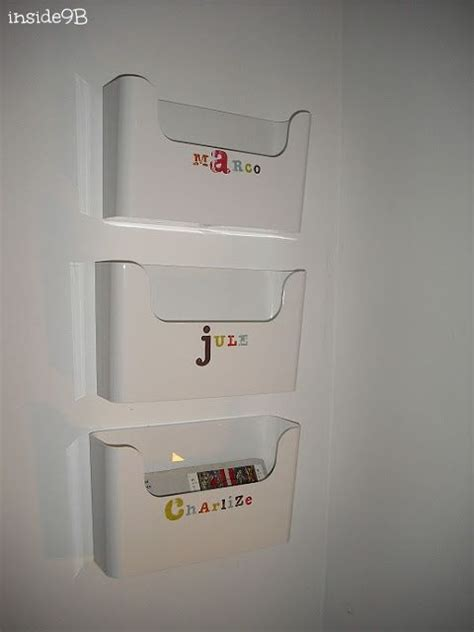 Ikea Pluggis boxes as mailboxes - one of the big boxes for